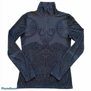 PRANA Breathe 1/2 zip pullover gray print Small